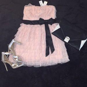 Blush Pink Ruffled Party Dress